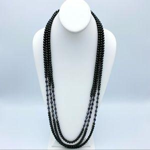 Dark Green Faux Pearl Bead Multi Strand Necklace